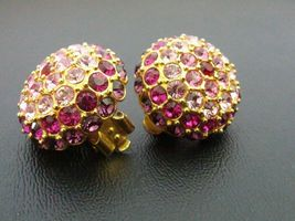 Signed JOAN RIVERS Earrings - Gorgeous Shades of PINK Glass Rhinestones - $38.50