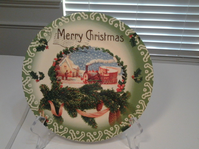 "Clay Art, Merry Christmas Vintage Postcard 8"" Lunch Plate, New"
