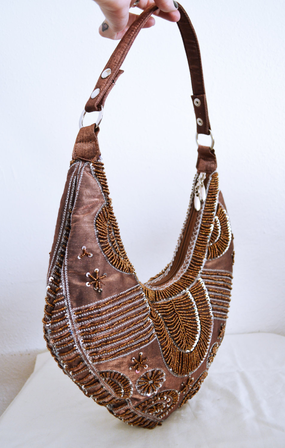 Free Ship Brown Beaded sequin Purse Shoulder Bag