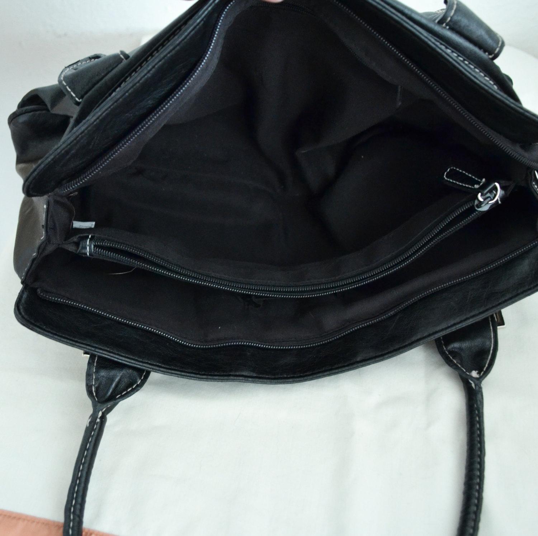 Free Ship Black Faux LEather Purse Croc and Reptile Print Handbag