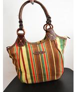 Free Ship Canvas Striped Purse Faux Leather Clean Shoulder Bag Jamaica Bay - $29.99