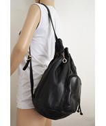 Free Ship Large Black Leather Purse Sling Shoulder Bag Morgan Taylor - $45.00