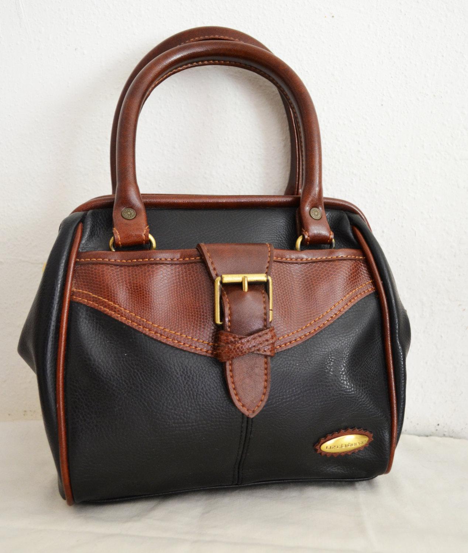52244c700e Free Ship Liz Claiborne Purse Brown and Black Vegan Faux Leather Handbag -   24.00