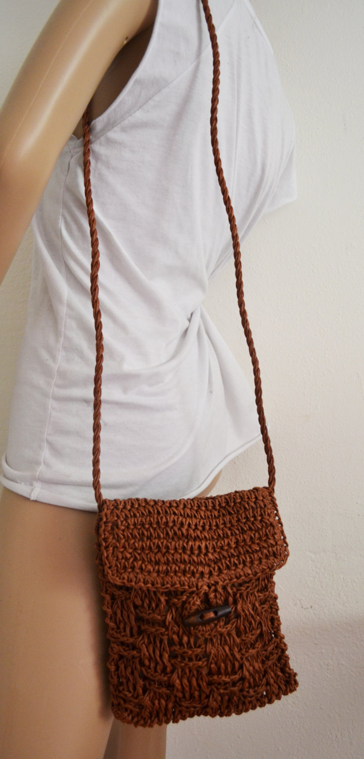 Free Ship Brown Weaved Straw Purse Cross Body Shoulder Bag Clean