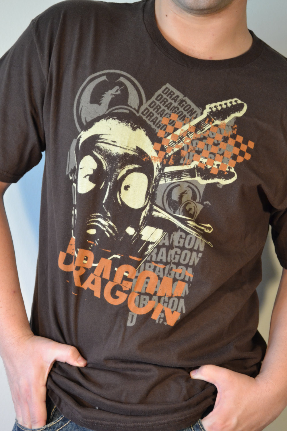 Free ship Dragon Concert TShirt Brown Large Rock Band Tee