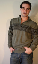 Free ship Nice Eddie Bauer Knit Sweater Green Black Men's Size M Medium - $25.00