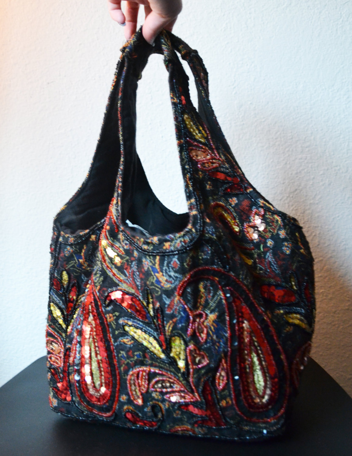 Free Ship Colorful Red and Black Purse Paisley Beaded and Sequin Shoulder Bag