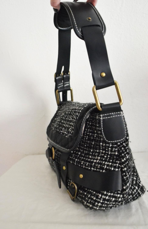 Gap,Tweed Purse,bag ,Faux Leather Trim,shoulder bag,black,gray