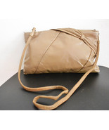 Free Ship Vintage 70's Tan Leather Purse Clean Shoulder Bag Clutch - $19.99