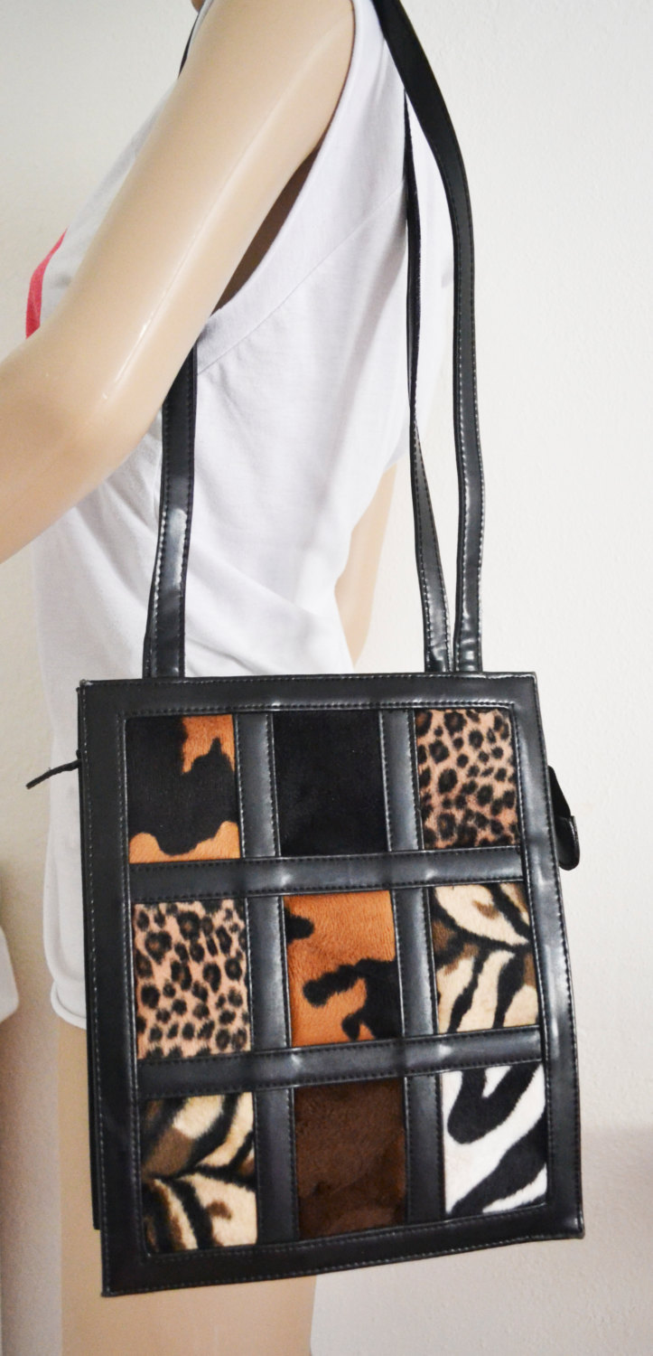 Free Ship Animal Print Squares Purse Vegan Faux Leather Tote Shoulder Bag
