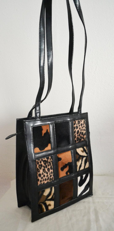 Free Ship Animal Print Squares Purse Vegan Faux Leather Tote Shoulder Bag