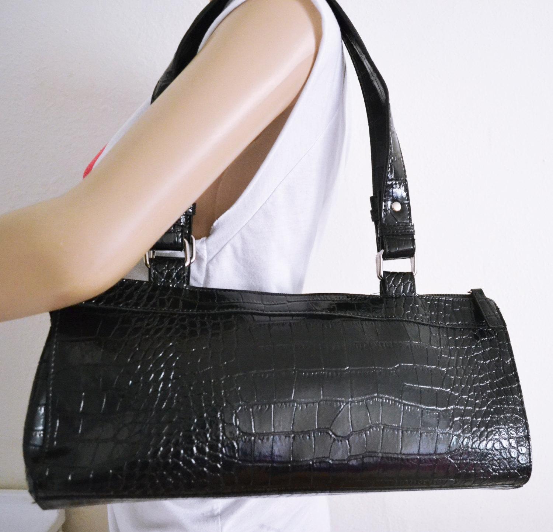 Free Ship Reptile Print Faux Patent Leather Purse Black Handbag Clean
