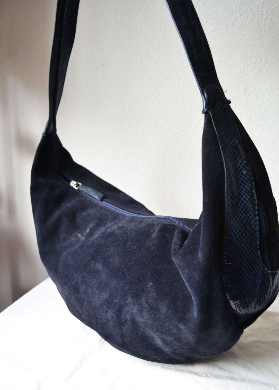 Free Ship H&M 80's Blue Leather and Suede Snakeskin Purse Clean Shoulder Bag