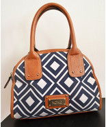 Free Ship Blue and White XOXO Purse Faux Brown Leather Trim - $21.99