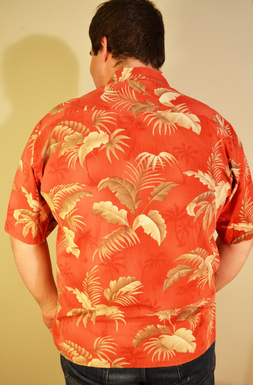 Free Ship Pierre Cardin Hawaiian Shirt Red and Tan Shirt Button Up XL XLarge