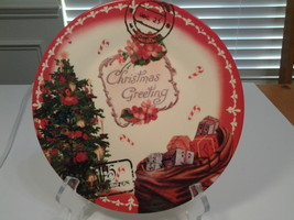 """Clay Art,  Christmas Greetings Vintage Postcard 8"""" Lunch Plate, New - $9.99"""