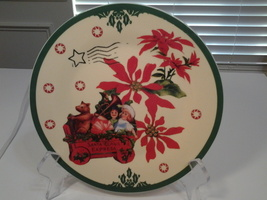 """Clay Art,  Santa Toy Wagon Vintage Postcard 8"""" Lunch Plate, New - $9.99"""
