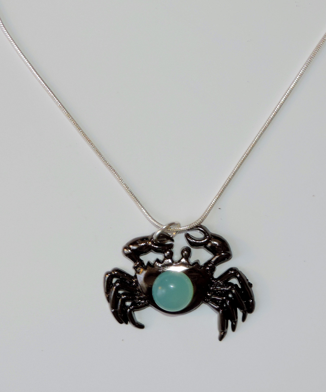 Black Lucite Crab & Blue Chalcedony Gemstone Pendant w/chain  sea life crabs