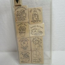 Stampin Up 1996 Vintage Wood Mounted Rubber Stamp Lot of 9 Nice n Easy N... - $29.65