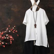 2018 Summer ZANZEA Women O Neck Short Sleeve Blouse Cotton Linen Shirt Irregular - $27.84+