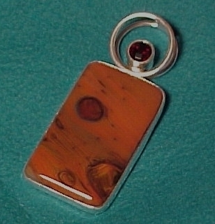 Sterling Silver Ruby & Red Art Glass Necklace Pendant Charles Albert