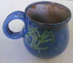 "Handmade Earthworks Ceramic Pottery 4"" Tankard Blue with Green Fish Mug ... - $23.99"