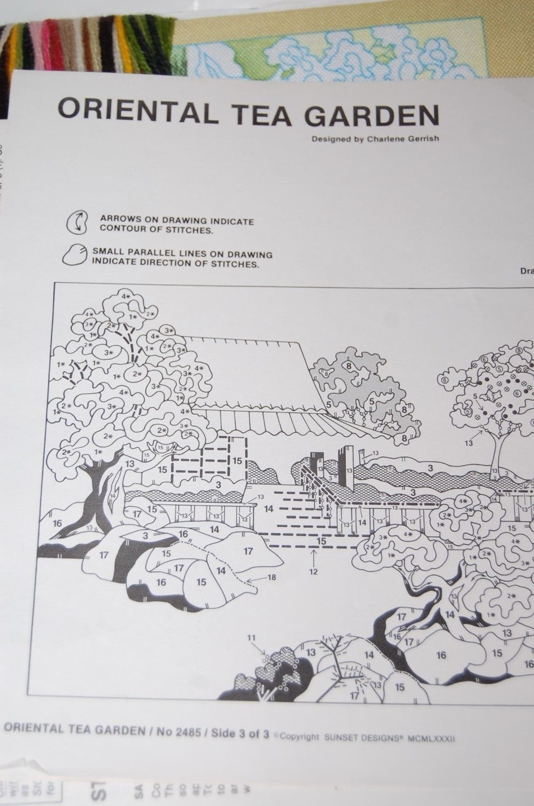 Sunset Stitchery Kit Oriental Tea Garden Crewel Embroidery Unused/New Canvas