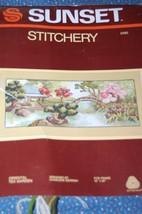 Sunset Stitchery Kit Oriental Tea Garden Crewel Embroidery Unused/New Ca... - $21.55