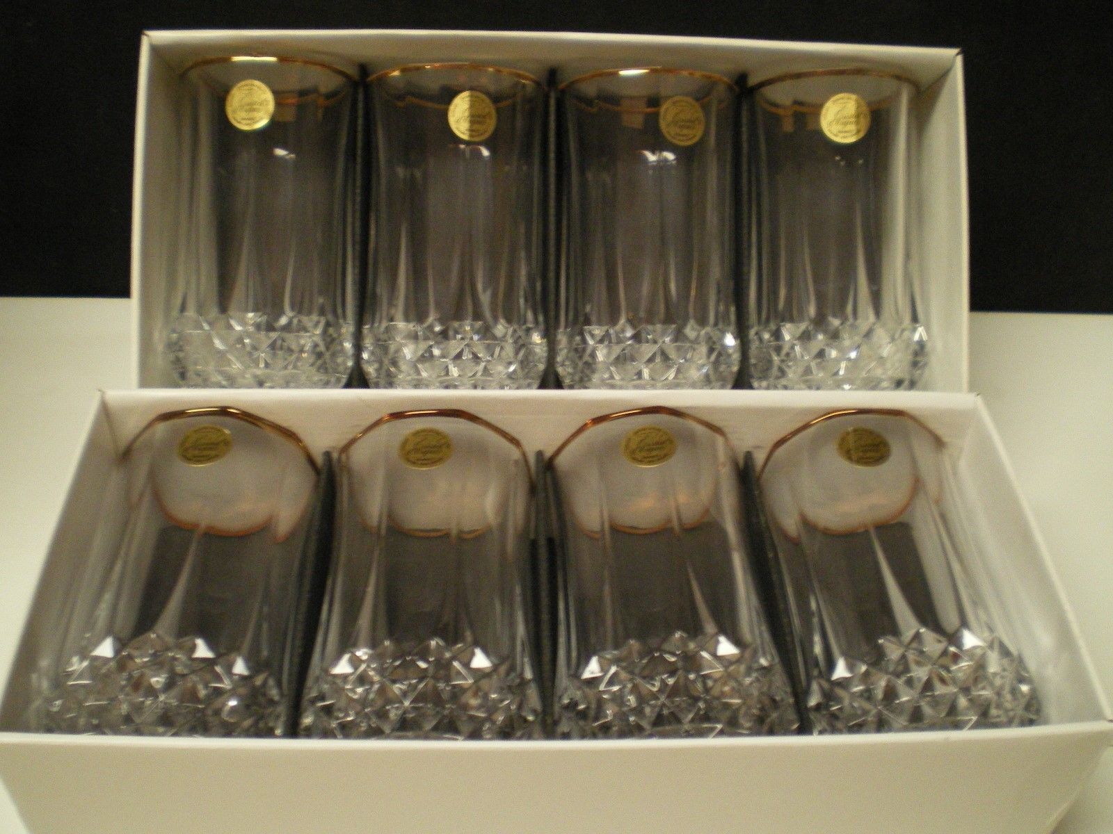 "Primary image for 8 CRISTAL d'Arques Longchamp Large 5 1/4"" Tumblers w Gold Rim~~~ in box~labels"