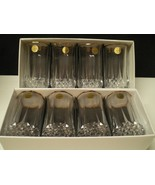 "8 CRISTAL d'Arques Longchamp Large 5 1/4"" Tumblers w Gold Rim~~~ in box~labels - $49.95"