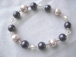 "Girl Teen 6"" Stretch Bracelet  Pink Pearls & Purple & Clear Beads Scrap ... - $5.41"
