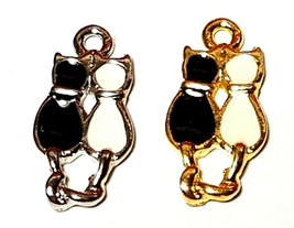 Black and White Cats Epoxy Enameled Fine Pewter Charm 10mm L x 19mm W x 2mm D