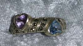 Vintage 9.25 blue topaz Amethyst marcasite heart ring Downton Abbey ster... - $50.00