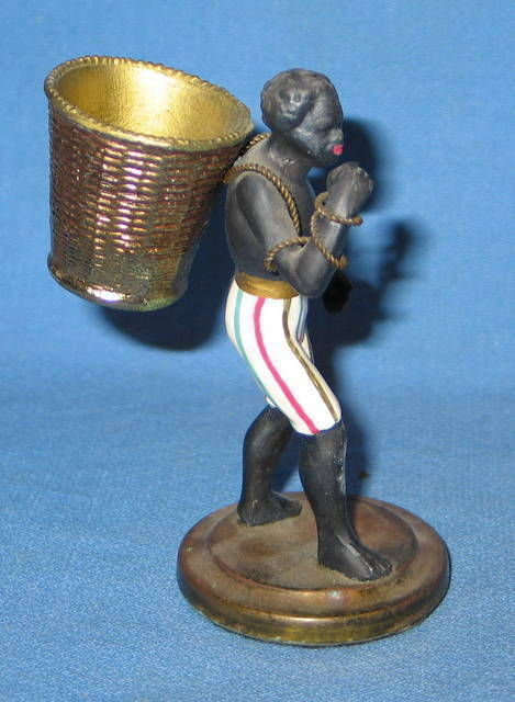 SOLD SOLD SOLD  EXTREMELY RARE -Strong Blackamoor Nubian Figurine Carrying Baske