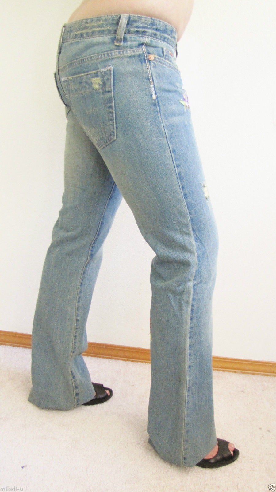 NEW JOE'S NAVENS VINTAGE DISTRESSED BOOTCUT DESIGNER DENIM JEANS, 25,EMBROIDERY