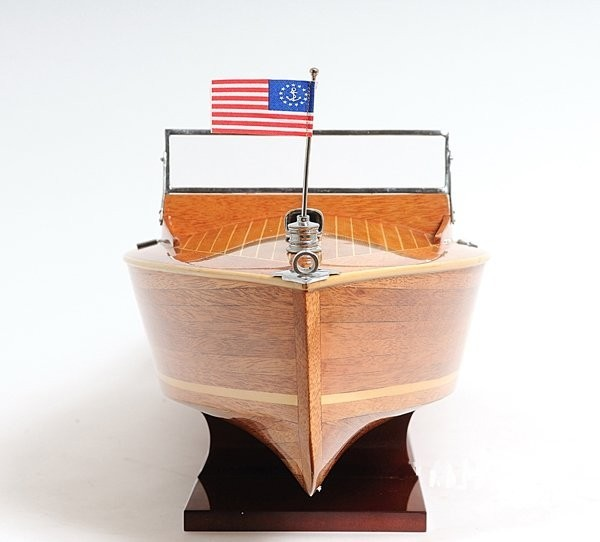 SHIP MODEL SPEED BOAT CHRIS CRAFT RUNABOUT COCKPIT WOODEN NEW