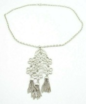 Crown Trifari Flower Boho Hippie Dangle Pendant Necklace Silver Tone - $39.59