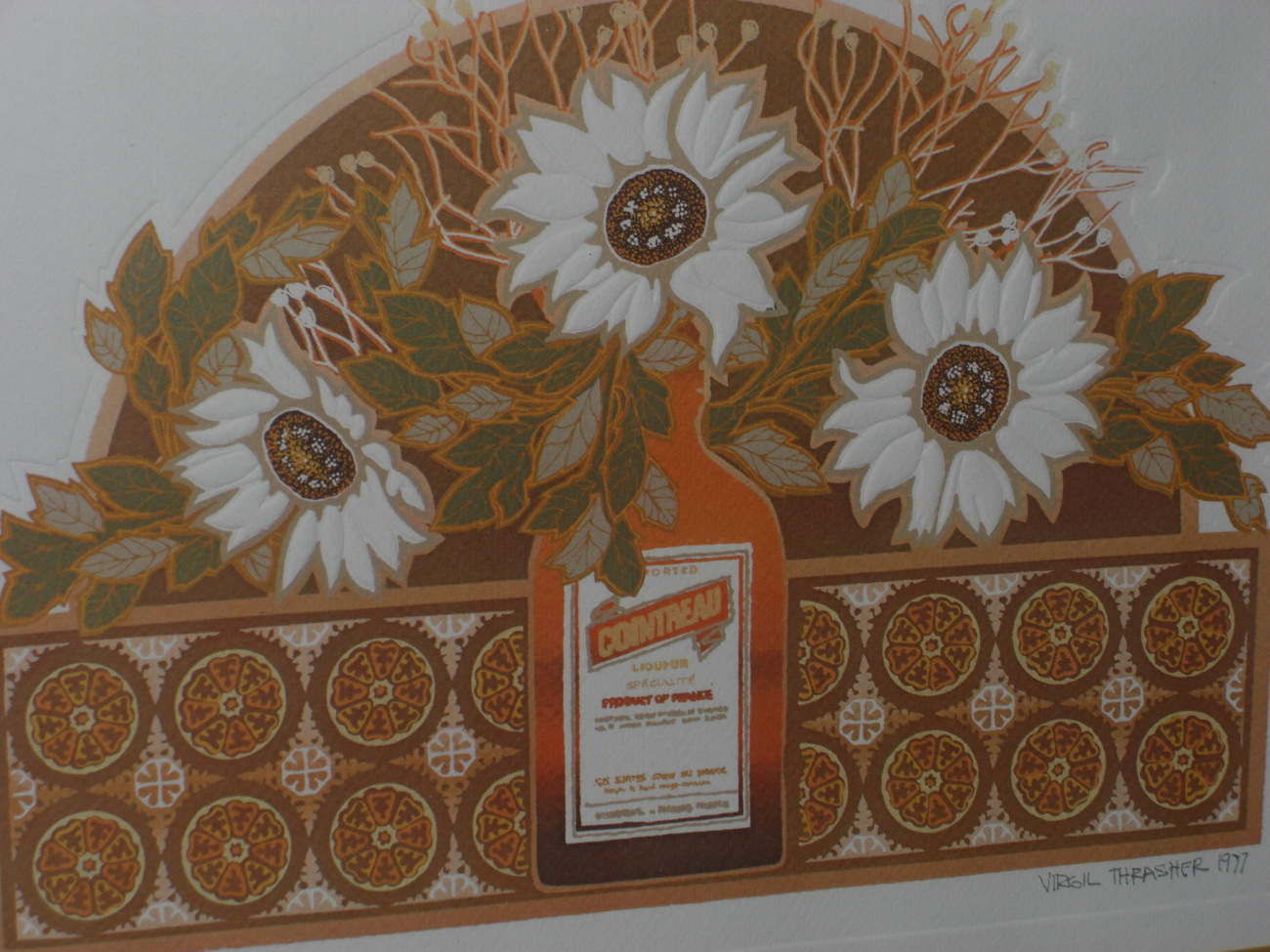 VIRGIL THRASHER Original 1977 Cointreau With Flowers Etching Other