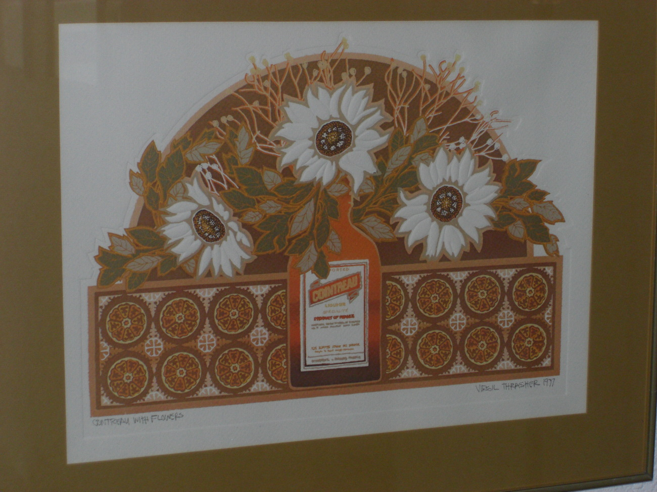 VIRGIL THRASHER Original 1977 Cointreau With Flowers