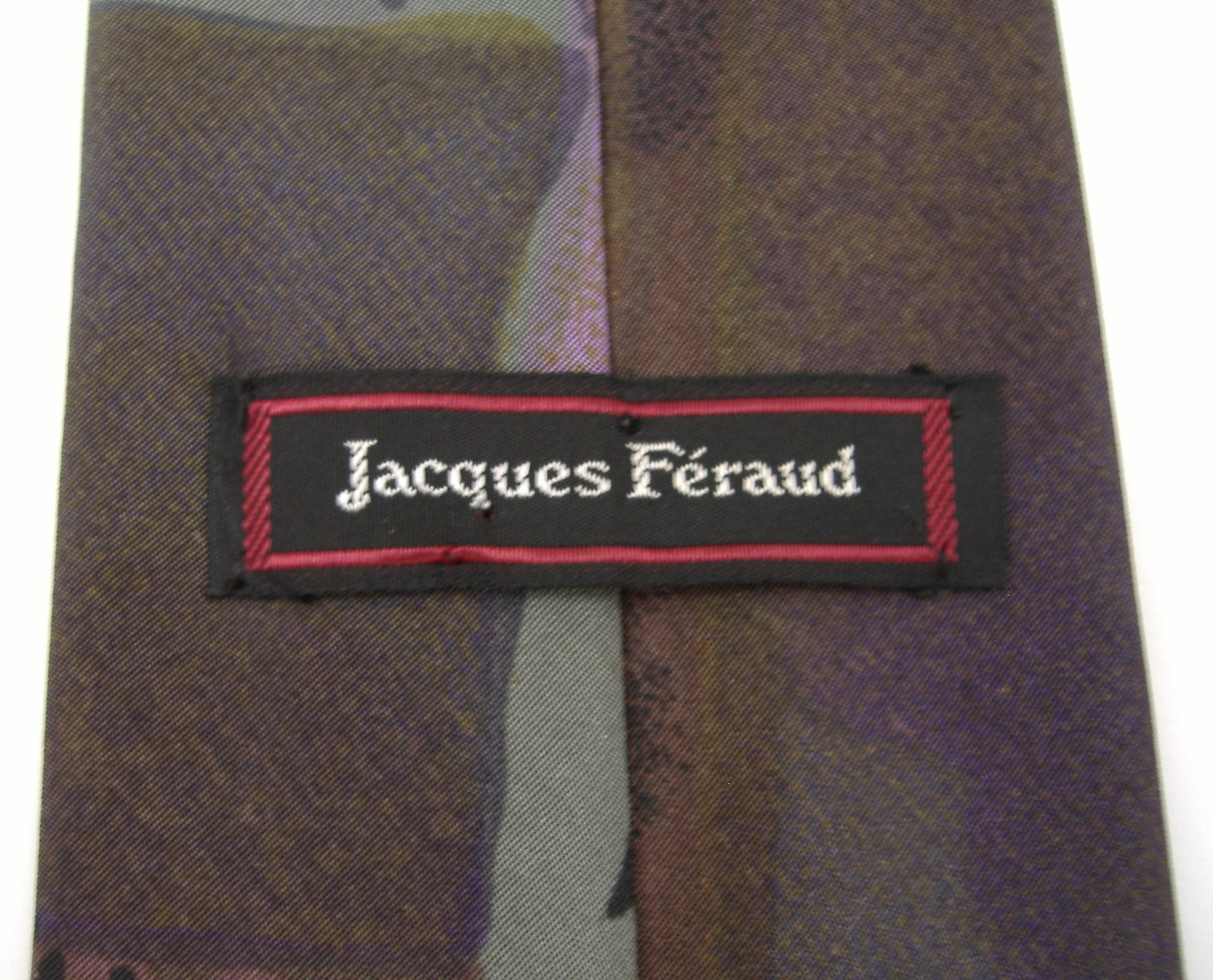 Jacques Feraud Neck Tie Green Purple Plum Abstract Pattern Mens Classic