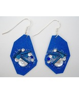 Blue Beaded Earrings Handmade Painted Paper Rhinestone Pierced Dangle New - £23.18 GBP