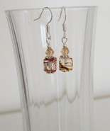 Clear Square Crystal Lampwork Foil Earrings - $6.50