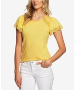 CECE Women's Dandelion Yellow Lace Trim Cotton Blend Dressy T-shirt NWOT XS - $8.06