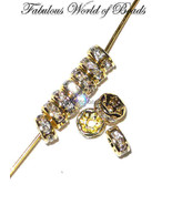 Swarovski Rhinestone Rondelles Spacer Beads Crystal Clear 4 MM Gold Plated (20) - $4.95