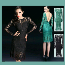 Black or Teal Silk Chiffon Lace Mermaid Sheath Prom Gown w/ Bra & Long Sleeves