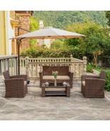 4PC Furniture Patio Outdoor Wicker Rattan Conversation Sofa Chairs Set G... - $459.97