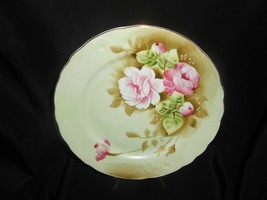 """Lefton China Heritage Green Pink Roses On Green Background Plate 9"""" - $14.25"""