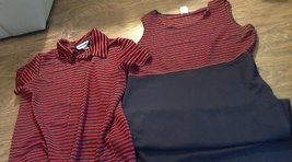 Red and black striped 2 piece jacket and dress set woman size 14 - $4.00