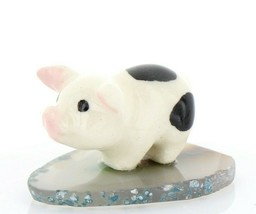 Stepping Stones Fairy Garden Miniature Piglet on Sliced Quartz Base #2708
