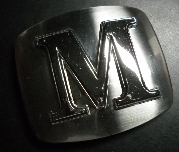 Initial capital m belt buckle chrome colored metal raised for Raised metal letters
